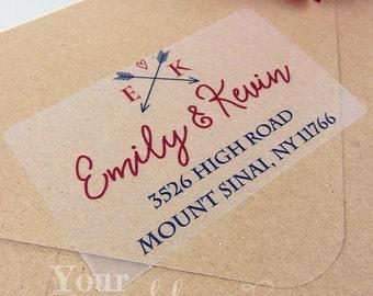 Custom Arrow Clear or White Labels, Wedding Labels, Return Address Sticker, Wedding Sticker, Wedding Favors, Return Address Labels, Stamp