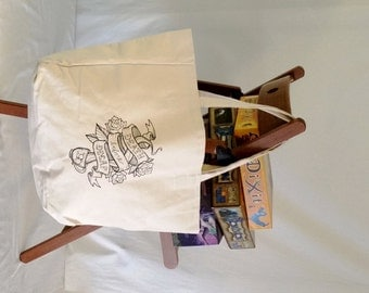 Embroidered Coffee Design Canvas Tote Bag