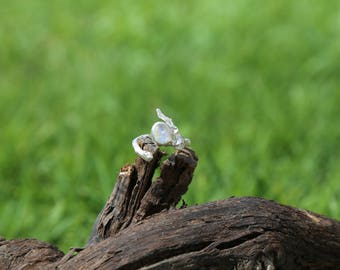 Sterling silver cork oak twig ring with moon stone.