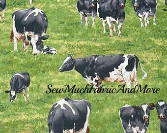 Down On The Farm Holstein Cows fabric~By the yard~Cows~Calves~Cattle~Farm Animals~Ranch~Robert Kaufman~Cotton