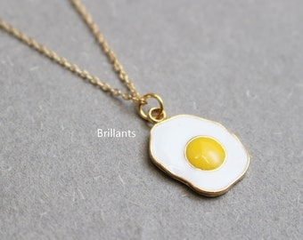 Cute Fried egg necklace , Sunny side up, Easter gift, Layer, Bridesmaid jewelry, Everyday necklace, Wedding necklace, Mothers day gift