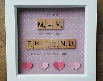 Mothers day scrabble 3D hearts with diamontes box frame