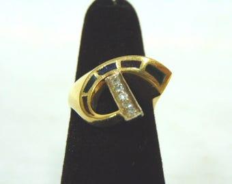 Unusual Womens Vintage Estate 14K Yellow Gold Ring w/ Diamonds Emerald Sapphire Ruby? 5.0g #E2945