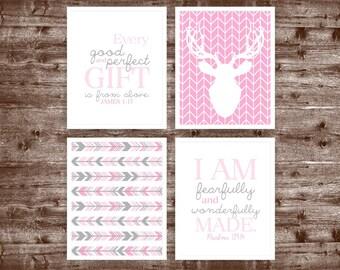 Printable DIY Pink, Grey Girl Woodland Deer nursery art, Deer, Arrows, Psalm 139 14, James 1 17 ( 114set810)( n015 )