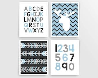 Printable DIY Blue Grey Woodland Moose Boy nursery art, Arrows, Alphabet Numbers ( 521set810)( n141)