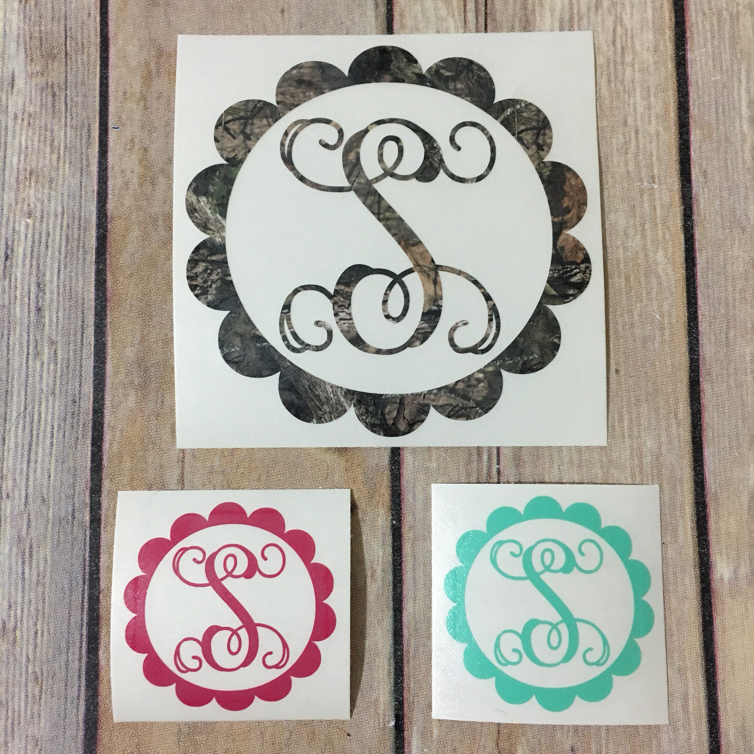 4 Monogram With Flower Frame Decal Single Initial Or