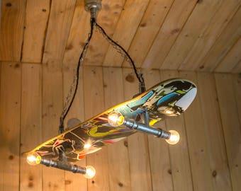 Skateboard ceiling light, chandelier Kids boys girls bedroom deck board steel light,