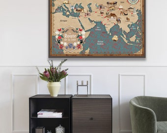 Silk road map, vintage style, world map