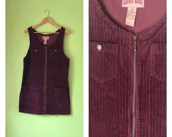 Vintage Brown Corduroy Jumper 1990s Mini Dress Zip Up Dress boho clothing hipster dress smock dress womens Medium