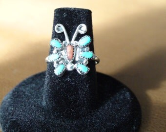 Native American Zuni Sterling Silver Turquoise Coral Petite Point Butterfly Ring Size 6.75
