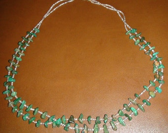 Mid Century Native American Santo Domingo Heishi Shell Royston Turquoise Necklace