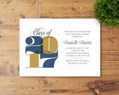 Printable Graduation Party Invitation, Class of 2017, High School, College Graduation
