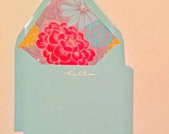 Hello Stationery Correspondence Card Set Floral Lined Envelopes