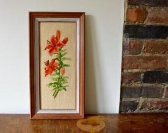 Framed Embroidered Artwork of Flowers