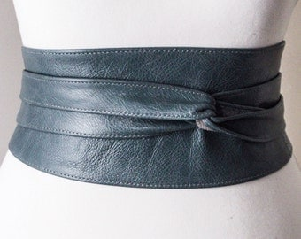 Distressed Blue Leather Obi Belt, leather Corset Belt, Leather Wrap Belt,  Waist Cincher Belt, Blue Belt