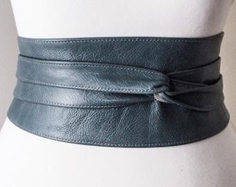 Distressed Blue Leather Obi Belt, leather Corset Belt, Leather Wrap Belt,  Waist Cincher Belt, Blue Belt