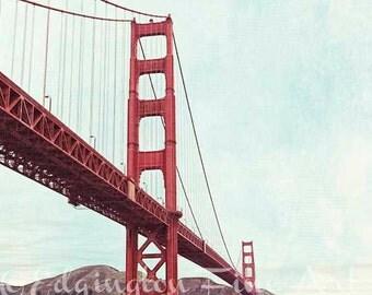 San Francisco Photography, Golden Gate Bridge Photo, travel photography, bridge photo, architectural photo, California photo, red, blue