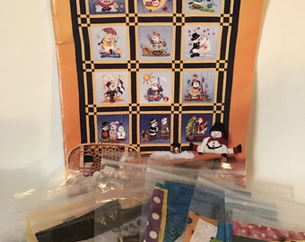 "Quilt Kit ""Snow Buddies Throughout the Year"" Plus Fabrics for Each Square"