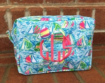 Monogrammed Lilly Pulitzer Inspired Makeup Bags