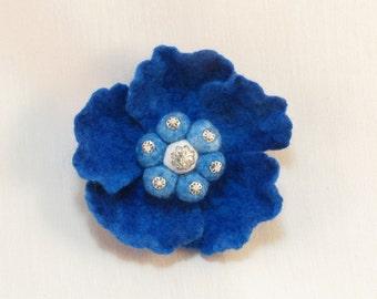 Felted Blue Poppy Brooch, Wool Jewelry, Blue Poppy Flower Pin Brooch