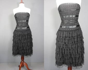 80's Prom Dress.........80's-Style Black Lace And Tulle Ruffled Prom Dress