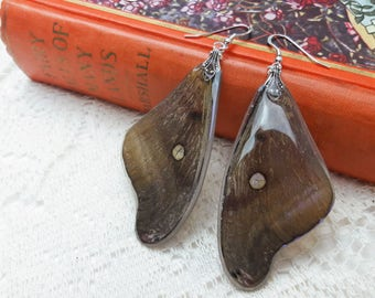 Polyphemus Moth Earrings - Woodland Fairy Earrings - Moth Wings - Fairy Jewelry - Iridescent Wings - Indigo Sky