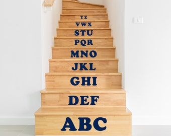 Stair Stickers,  Stair Decals  -  Alphabet ABC, Black White Blue Green Orange Yellow Red Grey Pink Purple Silver Gold .
