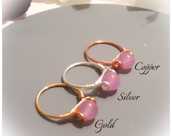 Lilac Jade Gemstone Wire Wrapped Ring in Silver Plate, Gold Plate and Pure Copper by Emerald Forest Designs