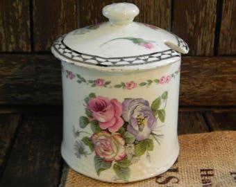 Antique Wilkinson Ltd England Handpainted Pink Roses/Florals Black Geometric Border Sugar Bowl/Compote Pot with Lid