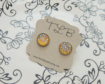 Yellow studded gem earrings