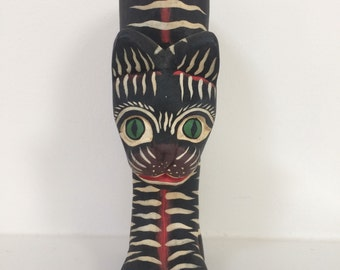 Black Cat with White Stripes and Green Eyes - Folk Art Wooden Cat Sculpture