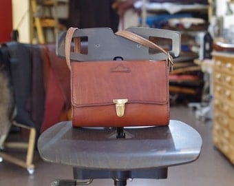 shoulder bag, satchel, brown calf leather pouch
