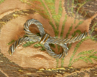 1940s Cute Rope Style Bow Brooch Pin Vintage Costume Jewelry Accessory Jewellery