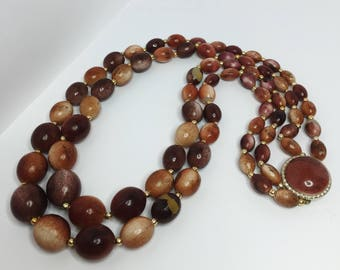 Vintage Wooden Necklace Brown and Gold Beaded Necklace Fish Hook Necklace Vintage Jewellery Brown Gold 50's 60's Necklace