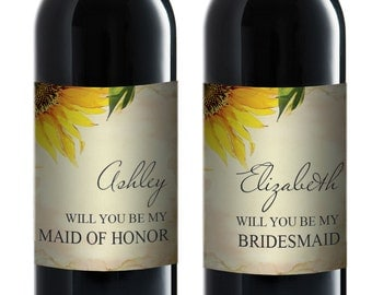 Bridesmaid Proposal Wine Label, Will You Be My Bridesmaid Gift, Maid of Honor Editable Text PDF Template, Ask Bridesmaid Wine Labels, Floral
