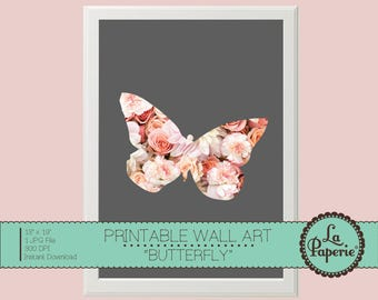 BUTTERFLY FLORAL ILLUSTRATION