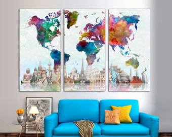 "3 Panel Split Abstract World Map Canvas Print,1.5"" deep frames,Triptych, watercolor effect Map, for home/office wall decor & interior design"