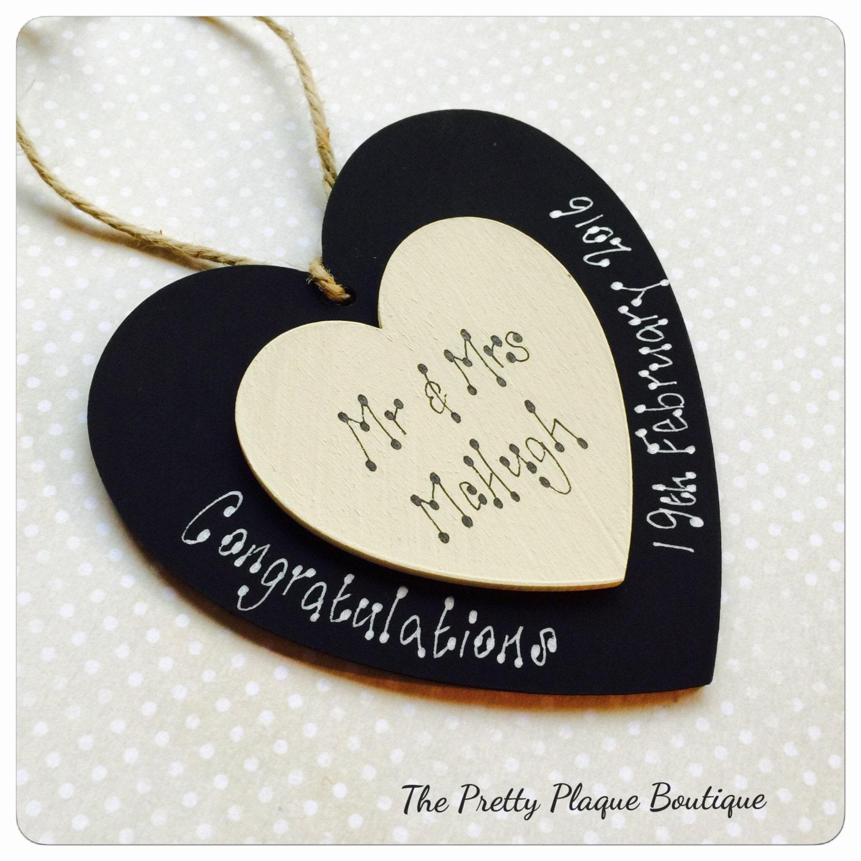 Personalised Wooden Heart Wedding Gift : Personalised Wooden Wedding Heart Plaque Wedding Gift