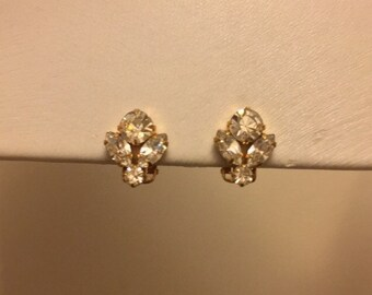 Clip on Earrings: Clear Diamanté Clip on Earrings