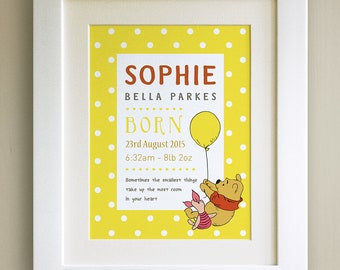 FRAMED Personalised Winnie the Pooh QUOTE PRINT, New Baby/Birth Nursery Picture Gift, Pooh Bear, Framed or just mounted, Choice of 3 frames
