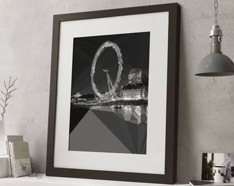 "LARGE 20""x16"" FRAMED Low Poly London Print, Geometric, Black and White Print, Black or White Frame/Mount, The London Eye at night"