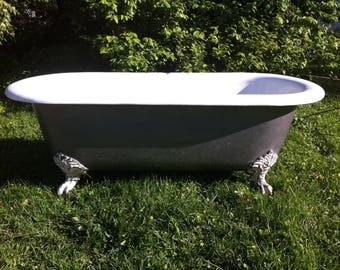 antique rare cast iron center drain claw tub in amazing condition bathtub in riverstone gray with