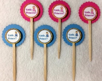 Set Of 12 Baby Shower Gender Reveal Little Prince or Little Princess Cupcake Toppers (Your Choice of 12)