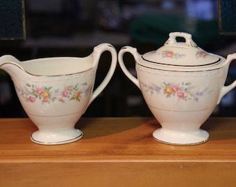 Vintage Homer Laughlin Eggshell Georgian China Sugar Bowl and Creamer collectible 1950s floral pattern