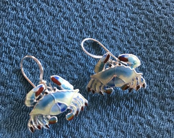 Sterling silver enameled crab pierced earrings