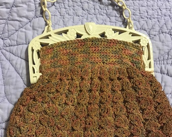1930's popcorn crochet purse with celluloid handle