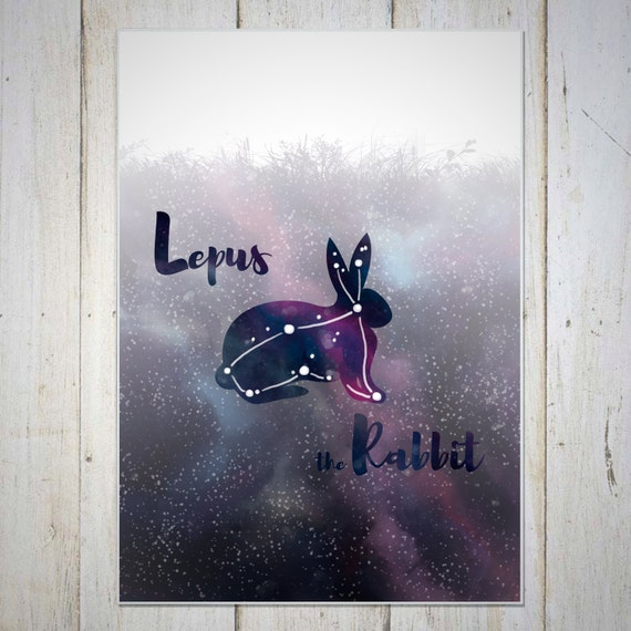 Rabbit Art Prints Wall Decor, Constellation Wall Decor, Birthday Gift, Constellation Star Art Print, Rabbit Constellation Lepus, Milky Way
