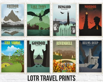 Lord of the Rings Travel Print Sets - Location Style Prints - Choose Your Set - The Hobbit - Lord of the Rings Travel Prints - Shire
