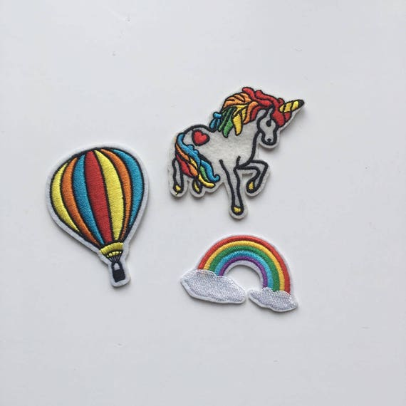 Unicorn, Hot Air Balloon & Rainbow Iron on Patch Set