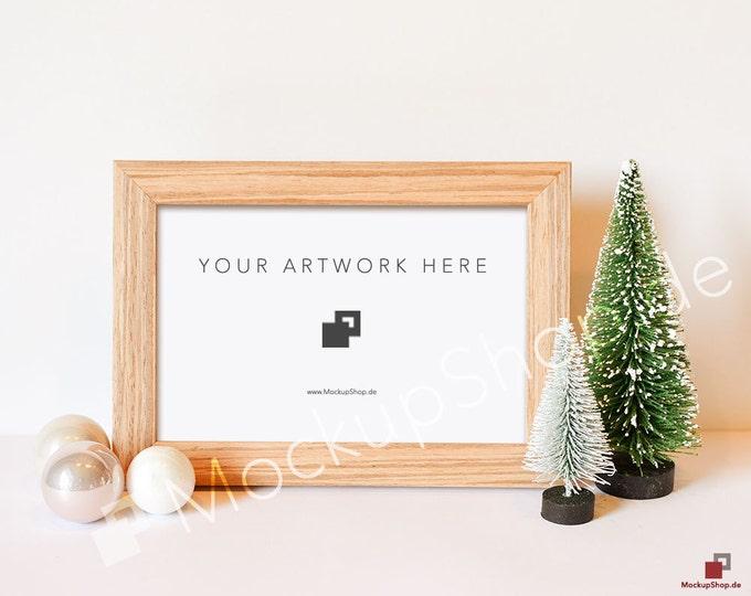 CHRISTMAS FRAME MOCKUP brown horizontal / Christmas Trees Christmas balls / Christmas Mockup / Merry Xmas Frame Mockup / Santa Claus Mockup